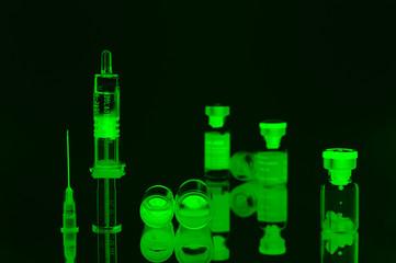 flacons,seringues,médecine,x-ray,négatif,fluorescent
