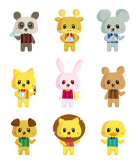 cartoon animal waiter icons
