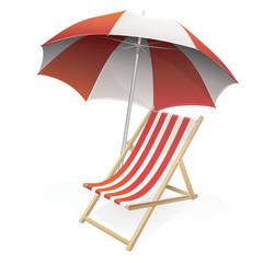 Parasol et sa chaise longue rouge