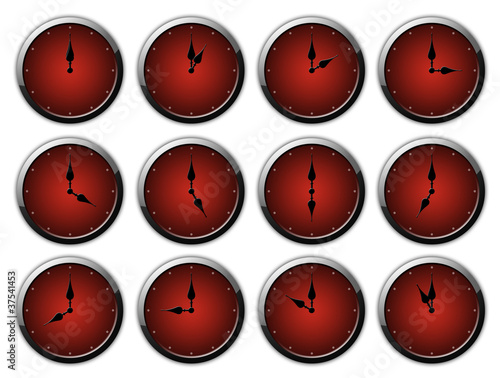 Clock Set - Dark Red