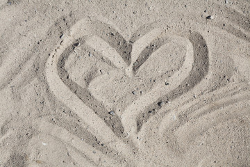 Romantic Heart Washed by Waves