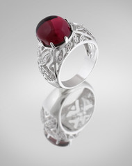 Vintage silver ring with red gem