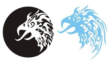 Flaming eagle head. Eagle head in a circle