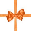 orange ribbon and bow isolated on white background