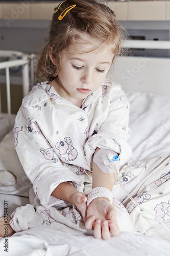 sick girl in hospital