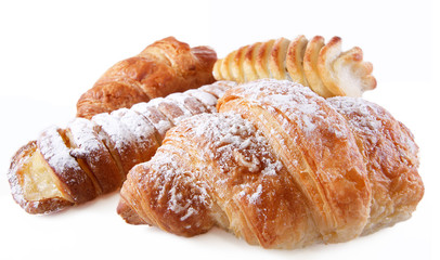 Fresh croissant isolated over white background