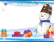 Cute snowman in a blue scarf