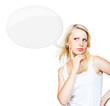 Beautiful blonde near blank speech bubble
