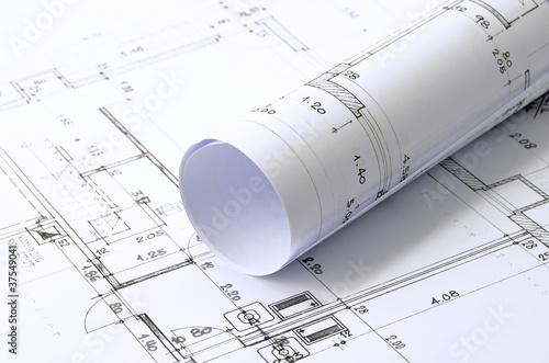 Leinwanddruck Bild geplantes Eigenheim