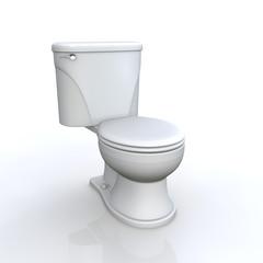 3D Toilette vor weissem Hintergrund
