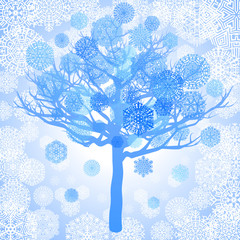 Blue snowflakes on the tree, vector illustration