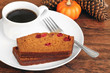 Sliced Pumpkin Cranberry Cake with Coffee