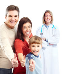 Medical doctor and happy family patient.