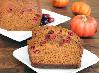 Pumpkin Cranberry Bread, sliced and whole.