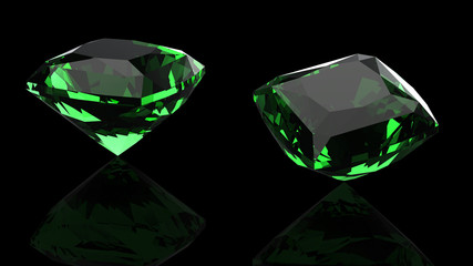 Emerald isolated on black background. Gemstone