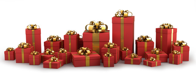 Beautiful red gift boxes with gold ribbon isolated