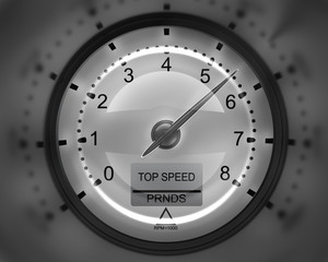 Tachometer white 3D render ( high resolution )