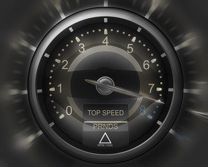 Tachometer black 3D render ( high resolution )
