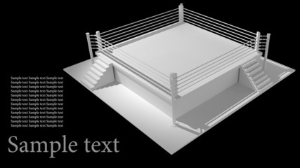 Boxing ring isolated on black background - 3d