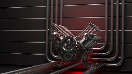 engine background V8 3d render high resolution