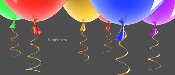 multicolored party balloons isolated
