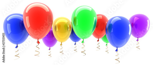 multicolored party balloons isolated on white