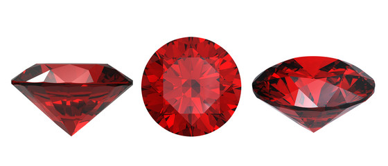 Round garnet isolated on white background. Gemstone