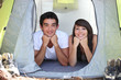 Teenagers in a tent