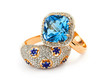 Elegant jewelry ring with sapphire and blue topaz