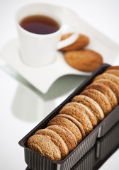 Cookies and tea on the table