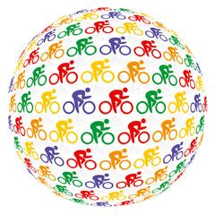Farbenfrohe Fahrradfahrer