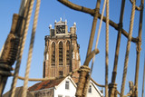 Dordrecht cathedral and rigging of an old galleon ship