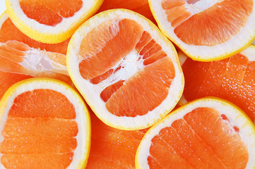 Grapefruit cut on segments