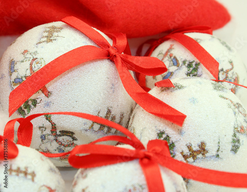 Christmas Baubles with Red Ribbonons