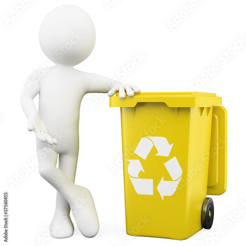 3D man showing a yellow bin for recycling