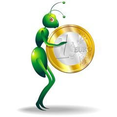 Formica Economia Moneta-Ant Economy Coin-Cartoon-2-Vector