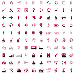 100 red grey business icons, web icon, with shadow