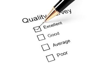 quality survey questionnaire and pen