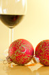 New Year's still life - glasses of wine and Christmas balls