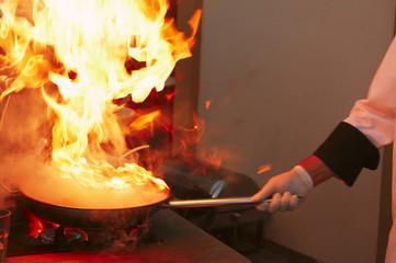 Professional kitchen: making sauce