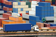 truck carries container to warehouse near the sea
