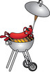 Funny cartoon picture with sausage on the barbecue