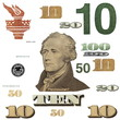 10 $ banknote, photo dollar bill elements isolated on white