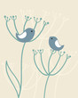 Vintage background with birds and flowers