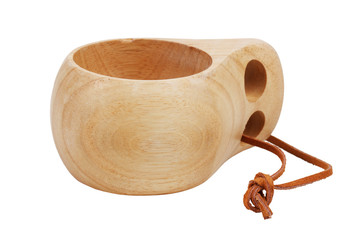 Cup, carved from wood with a leather strap
