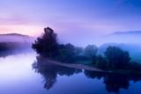 Fototapety The Dordogne misty river at sunrise