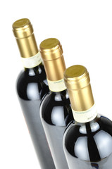 Bottles of fine Italian red wine, closeup