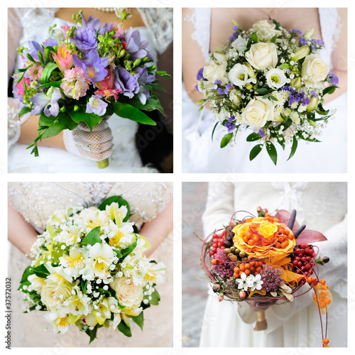 Set of brightness wedding bouquet
