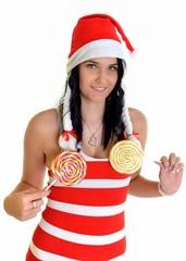 Santa girl with big lollipop