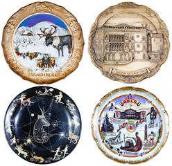 set of four souvenir plate